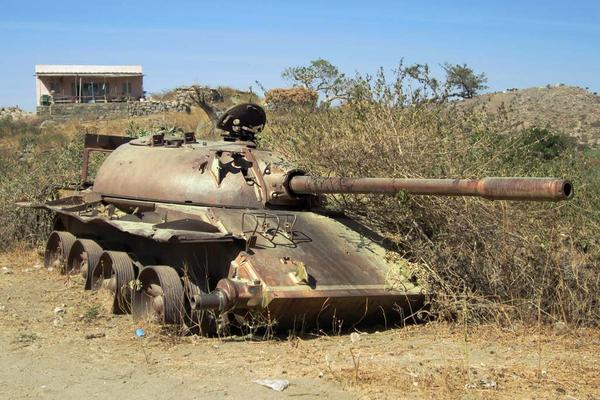 Soviet tank abandoned by retreating Ethipian troops 1991
