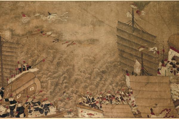 een zeeslag tussen japanse zeerovers en chinezen