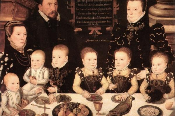 Portrait of William Brooke Baron Cobham and his family by Master of the Countess of Warwick. Dated 16th Century
