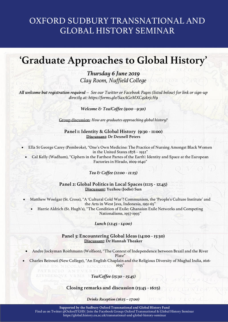 WORKSHOP: Graduate Approaches to Global History | Oxford